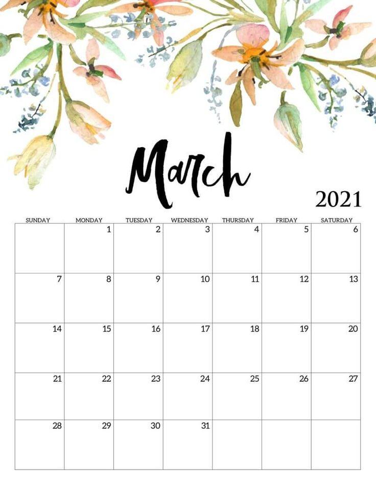 Beautiful March 2021 Calendar in 2020 | Calendar ...