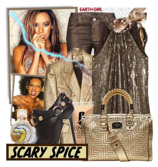 """Mel B!"" by blairelythere ❤ liked on Polyvore featuring Balmain, Swarovski, MICHAEL Michael Kors, Versace, sequins, colored jeans, sequined tanks, versace, spice girls and scary spice"