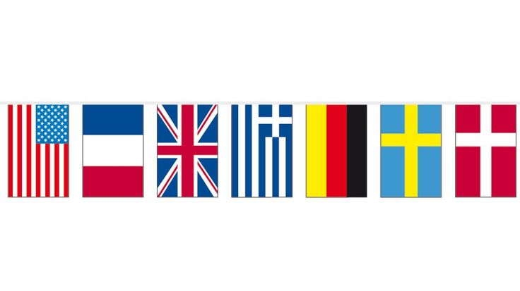 Banderas internacionales de papel (50 metros)