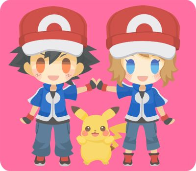 pokemon serena xyz ash anime episode kawaii satoshi ketchum amourshipping heart episodes attack chibi pikachu looks vs mix visit pixiv