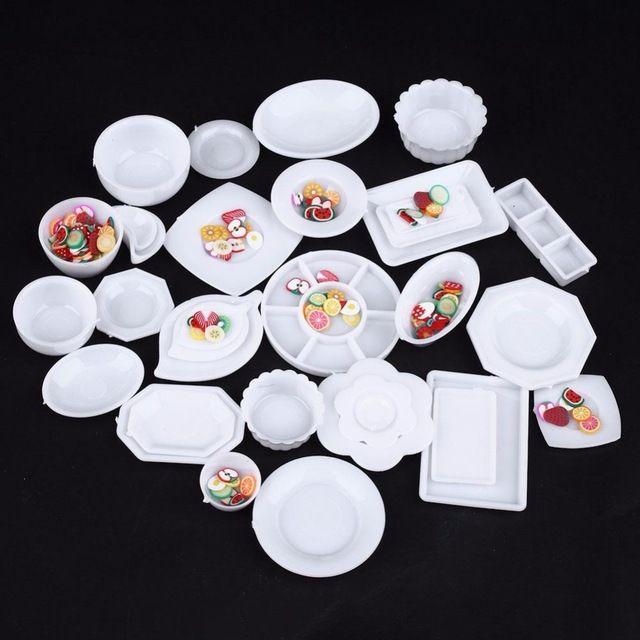33 unids/set Muñeca Accesorios de Cocina Vajilla Mini Miniaturas Placa Taza Plato Decoración Juguetes para Niños Niñas