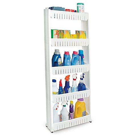 Give yourself additional storage in the kitchen with the Slide Out Storage Tower. This slim pullout cupboard is on wheels and can fit perfectly between a fridge and counter to store food, cleaning supplies, and more.