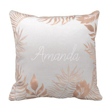 Name Silver Gray Grey Rose Gold Tropical Frame Throw Pillow - rose style gifts diy customize special roses flowers