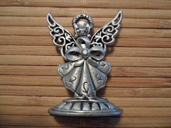 Crystal Angel Pewter Figurine  Black Velvet Base  Double