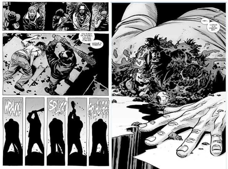 Pin for Later: Glenn's Death in The Walking Dead Comic Books Is More Disgusting Than You Could Possibly Imagine  Even after Glenn dies, Negan continues to go to town with Lucille until the corpse is unrecognizable.