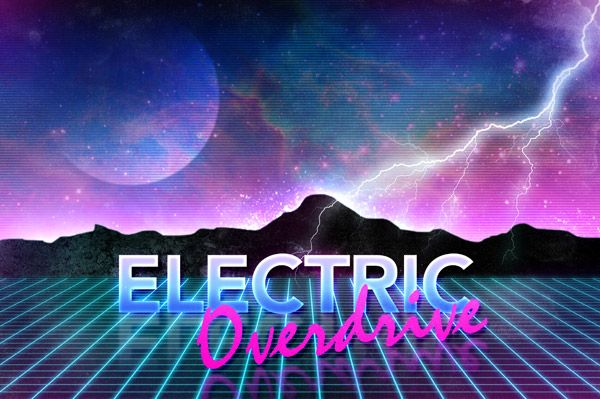 Spoon Graphic Tutorial - Electric Overdrive Retro Futuristic Neon Art - 'I'm really starting to love this kind of retro design, it reminds me of videogames and toy box art from when I was a kid, when things had names such as 'Tekno Lazor Blazter 3000' - are the 80s really becoming cool again?'