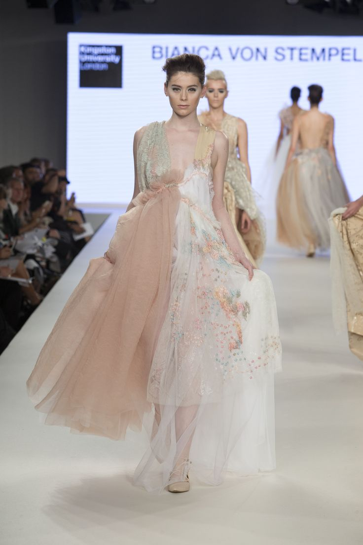 Kingston University student Bianca Von Stempel's collection on the catwalk at Graduate Fashion Week 2016.  Find out more about studying fashion at Kingston University : http://www.kingston.ac.uk/undergraduate-course/fashion/?utm_source=Pinterest&utm_medium=Social&utm_campaign=KUPinterest&utm_content=FashioncourseGFW2016