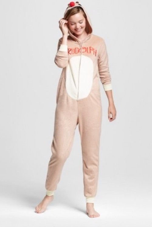 Rudolph Red Nosed Reindeer One Piece Hooded Fleece Pajamas Union Suit Adult XXL  | eBay