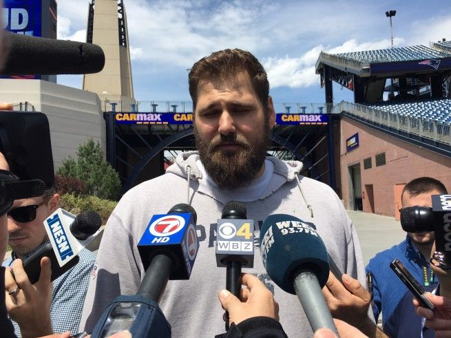 FOXBORO -- Sebastian Vollmer wasn't about to take the bait.  The 34-year-old veteran offensive tackle took time out from his offseason workout Tuesday at