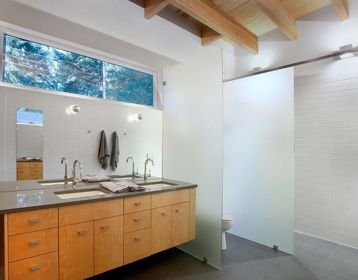 WC and Shower spaces defined and screened by frosted glass