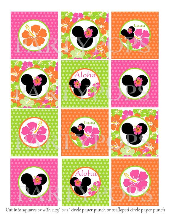 Diy Minnie Mouse Luau Birthday Cupcake Toppers 2