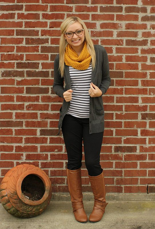 stitch fix-i have a gray cardigan like this and like how she pulls it together with the yellow and stripes.