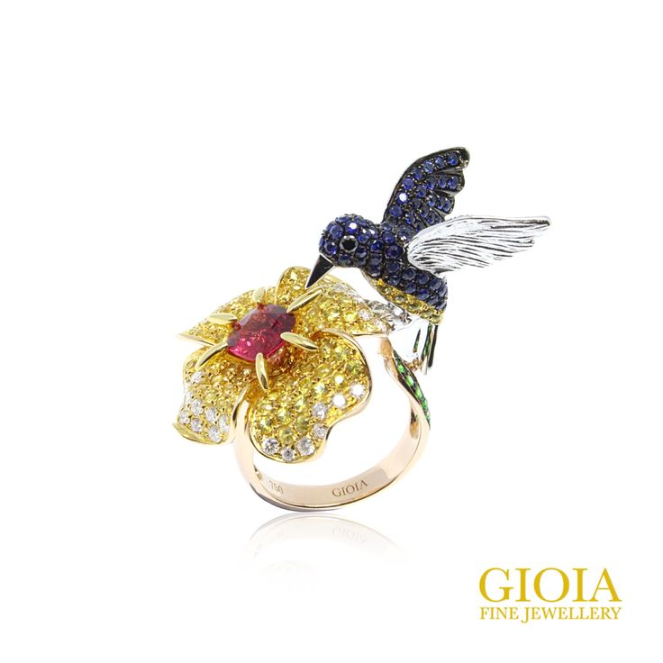 GIOIA Nature's Paradise collection  Flora Bird Ring  Burmese Red Spinel, Blue & Yellow Sapphire, Diamond, Tsavorite, 18k Rose Gold & Black Gold  High precision of craftsmanship with detail finishing.  #gioiafinejewellery #bespokefinejewellery #customisedjewellery #custommadejewelry #luxury #tanjongpagar #internationalplaza #finejewellery #preciousstones #spinel #spinelring #artring #naturesparadise