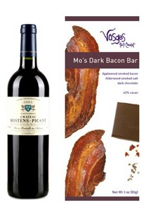 Rob Moshein's pick: Château Hostens-Picant 2005 with Vosages Mo's Dark Chocolate Bacon Bar. Yes, 62% dark chocolate with BACON! Yummmmm…