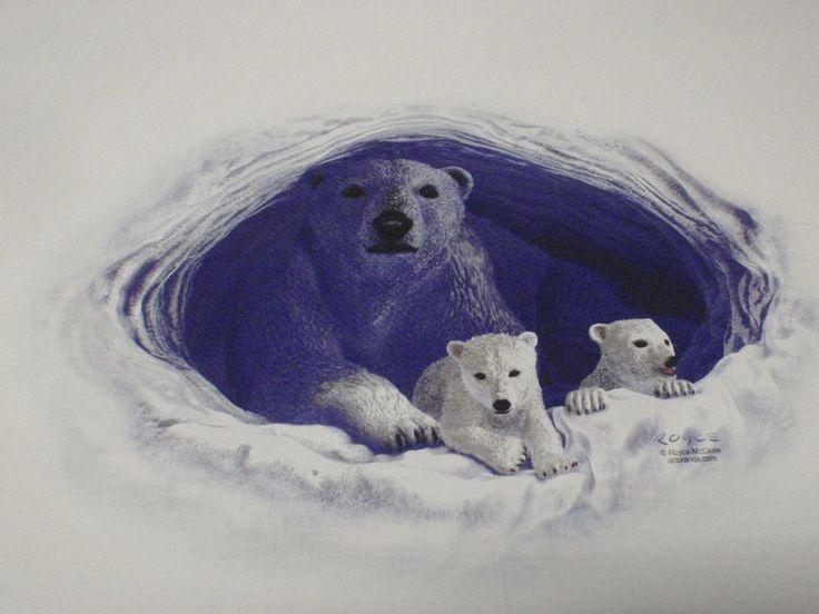 Polar Bear Mom Cubs Cave Arctic Scene Wildlife Quilt