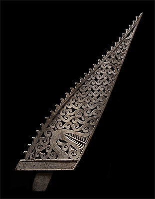 Tanimbar Islands | South Moluccas, Indonesia | Canoe prow with dragon image (kora ulu) 19th century wood