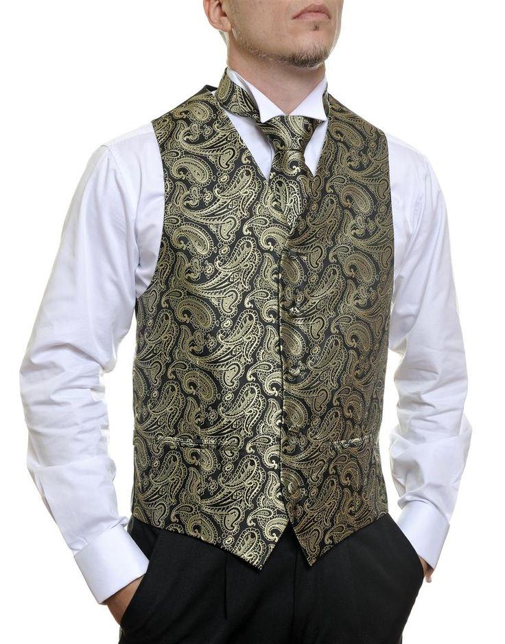 Black Gold Paisley #Australia made #AU #Groom #Dinner #Vest #Fashion #Clothing #Beautiful #Wedding