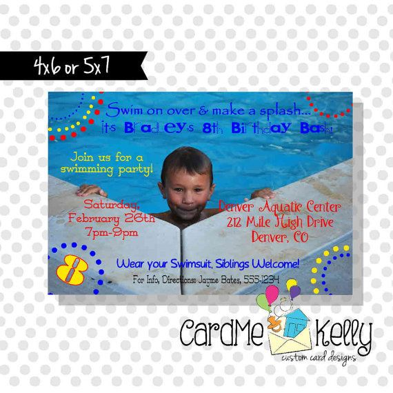 Printable Big Photo Swimming Pool Party Invitation  by CardMeKelly