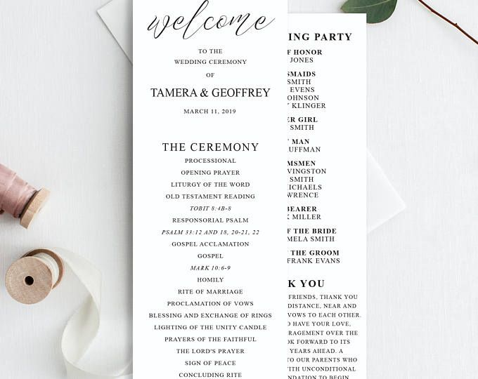 Wedding Programs Template, Printable Wedding Program, Calligraphy