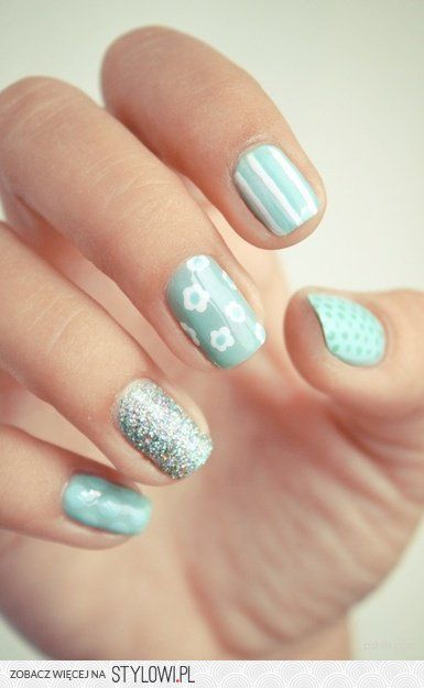 Daisy and glitter: Mint Green, Nails Art, Cute Nails, Mint Nails, Nails Design, Spring Nails, Bluenail, Green Nails, Blue Nails