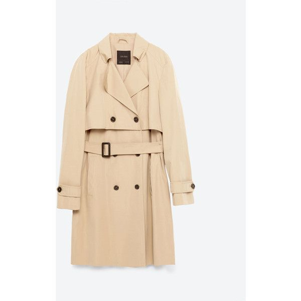 KORT TRENCHCOAT - Trenchcoat-KAPPOR-DAM | ZARA Sverige ($56) ❤ liked on Polyvore featuring outerwear, coats, zara, beige trench coat, beige coat and trench coat