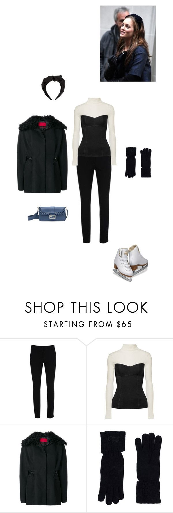 """""""Ice skating."""" by roxok ❤ liked on Polyvore featuring Warehouse, Theory, Jennifer Behr, Moncler Gamme Rouge, Salvatore Ferragamo, fendi and iceskatingoutfit"""