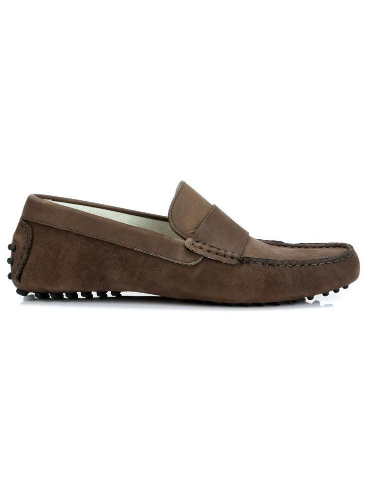 These brown loafers for men are aggressively casual with classic styling. Our brown leather loafers are handmade and feature a brushed nubuck finish.