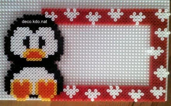 Penguin photo frame hama perler beads by deco.kdo.nat