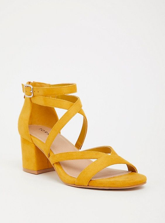 1323ce863e4 Mustard Strappy Block Heel (Wide Width) in 2019 | Products | Strappy ...