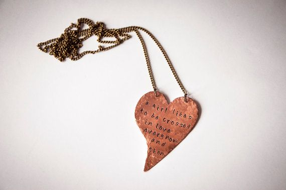 Long necklace with heart and personalized by SilviaWithLove