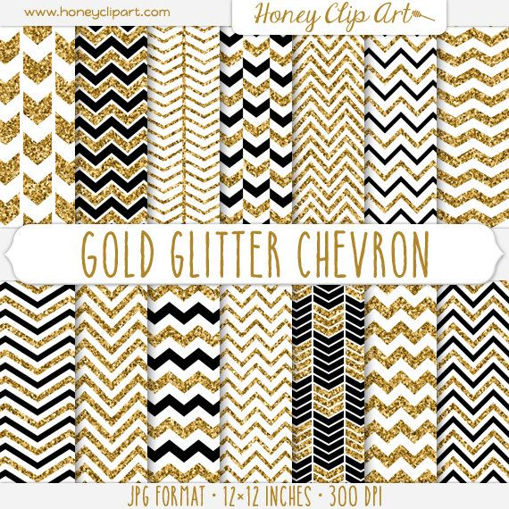 Gold Glitter Chevron Digital Paper - White, Black, and Gold Chevron Sparkle Backgrounds - Chevron Glitter Patterns - Sparkly Golden Arrows