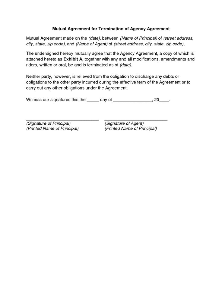 mutual agreement termination letter and contract free download