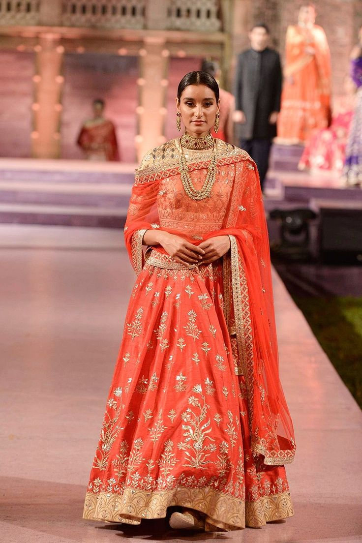 Sangeet Lehengas - Orange and Gold Lehenga | WedMeGood Orange Lehenga with Gold Gota Patti work and Gota Border | #wedmegood #sangeet #lehengas #orange