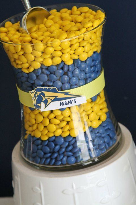 Class Reunion Centerpiece Idea - Layer M  Ms in a clear glass container in your school colors.