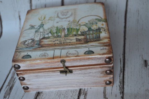 In the white garden Vintage  Tea Box wooden Tea by iLoveCreations