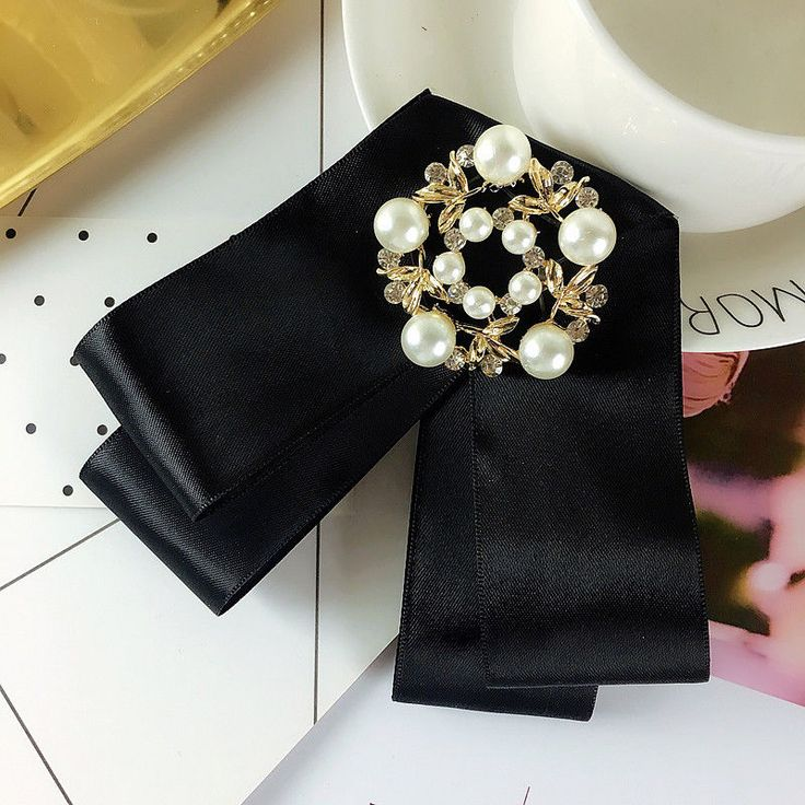 Black Ribbon Gold Leaf Tie Women Accessories Bow Collar Fashion Brooch Pin #Handmade