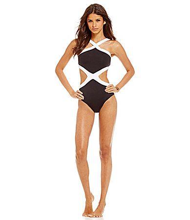 Kenneth Cole New York Got the Beat HighNeck Monokini Swimsuit #Dillards