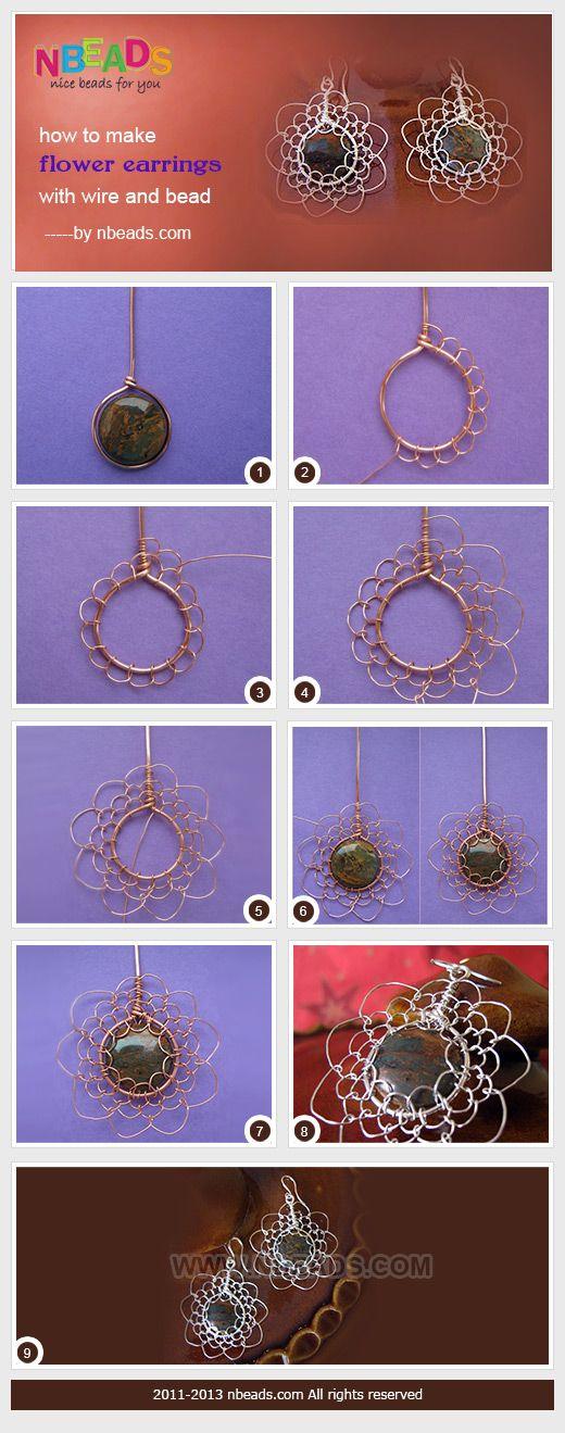 DIY Flower Earrings ~  Wire and Bead