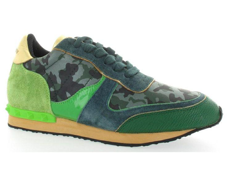 Glamorous groen blauwe sneakers met camouflage print detail. €119,95 #glamorous #sneakers #voorjaar