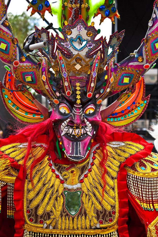 """Bolivian Folkloric Dance """"La Diablada"""" performs on the National Mall in Washington DC during Earth Day Celebrations. April 18, 2010. (Photo by Jeff Malet)"""