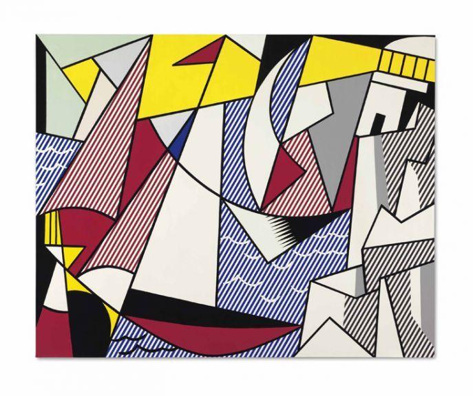 """Roy Lichtenstein """"Sailboats,"""" 1973 oil and Magna on canvas"""