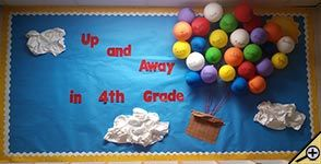 Up and Away bulletin board - Put student names on multi-colored balloons for a fun 3D Back to school bulletin board