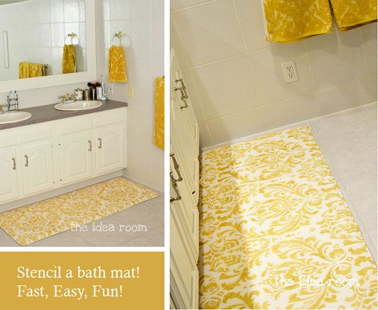 A smaller scale version of an entire stenciled floor, why not stencil a bath mat or rug? This bath mat was stenciled with Cutting Edge Stencil's Damask Anna to match the towels. I love it! When we do our basement bathroom (someday we will have a basement bathroom) I may totally steal this idea <3