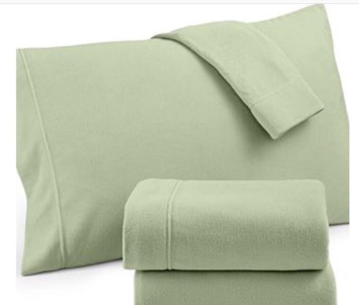 Martha Stewart Collection Bedding Microfleece Twin Sheet Set Jade Green Bedding