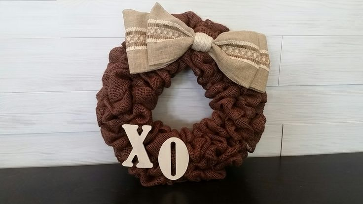 Brown Burlap Wreath with Letters and Bow . . . #goldenforrest #goldenforrestcreations #burlap #burlapwreath #handmade #wreathideas #frontdoordecor #bow
