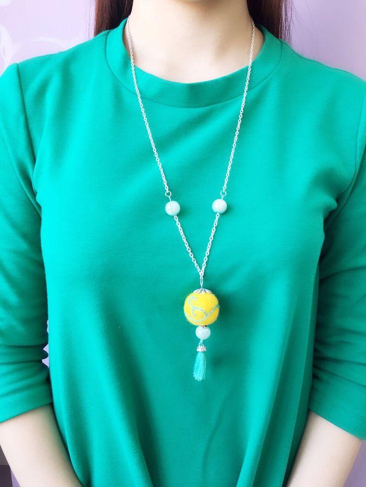 Handmade felt necklace 15$