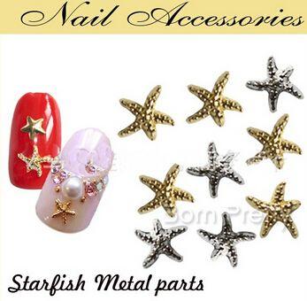 1000PCS Sea Design Gold Silver Japan Fashion Style Starfish Nail Art Decoration 3D Metal UV Gel Metal Studs Sticker