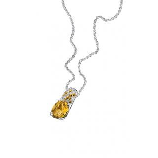 Plaisir d'Amour Pendant  Plaisir d'Amour pendant and chain, 18Kt white gold, Citrine (3,3ct), yellow sapphires and diamond pavé.