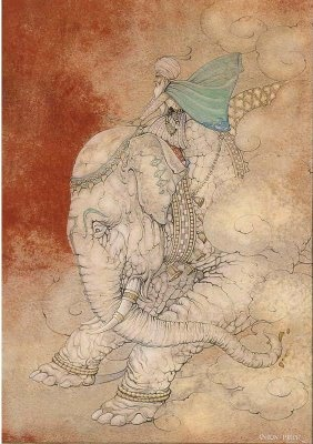 Anton Pieck (Dutch Illustrator 1895-1987). The 600st night the story of Hassan Al Bassri The appearance of Sheikh Abd Al kadoes riding a white elephant by Anton Pieck