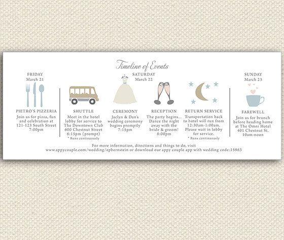 Timeline Wedding Weekend itinerary by lemonseedandco on Etsy, $1.25